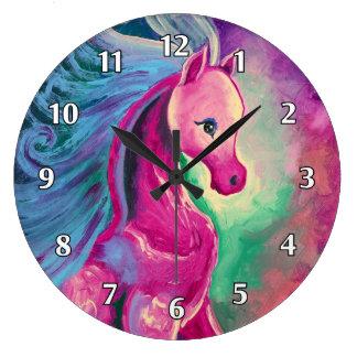 Caballo de colores brillantes reloj