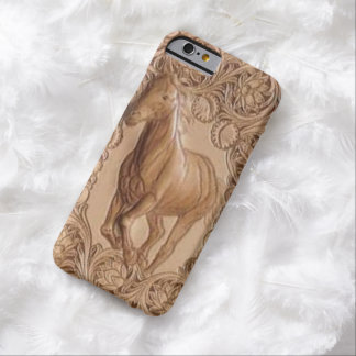 Caballo de cuero equipado occidental del vintage funda de iPhone 6 barely there
