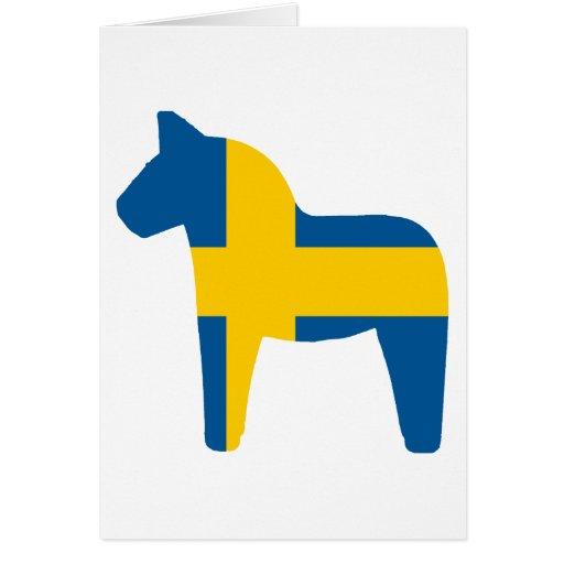 Caballo de Dala de la bandera de Suecia Tarjeta De Felicitación