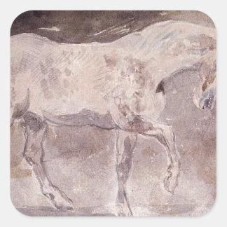 Caballo de Eugene Delacroix Pegatina Cuadrada