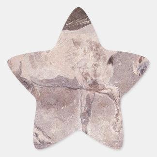 Caballo de Eugene Delacroix Pegatina En Forma De Estrella