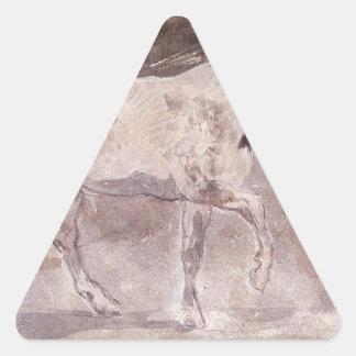 Caballo de Eugene Delacroix Pegatina Triangular