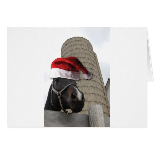 Caballo de granja del navidad tarjeton