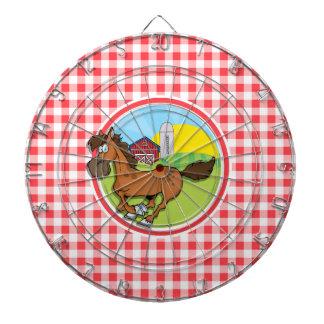 Caballo de granja; Guinga roja y blanca Tablero De Dardos