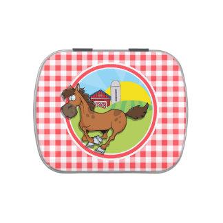 Caballo de granja; Guinga roja y blanca Jarrones De Dulces