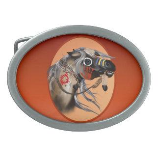 Caballo de guerra hebilla cinturón oval