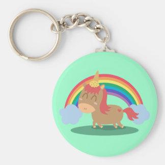 Caballo de Kawaii Brown que intenta ser un unicorn Llaveros Personalizados