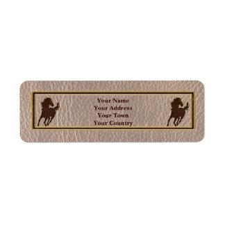 Caballo de la Cuero-Mirada suave Etiqueta De Remite