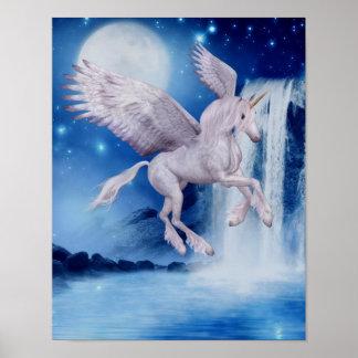 Caballo de la fantasía de la cascada del unicornio impresiones