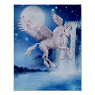 Caballo de la fantasía de la cascada del unicornio póster