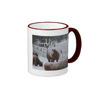 ¡Caballo de la nieve, Felices Navidad! Taza A Dos Colores