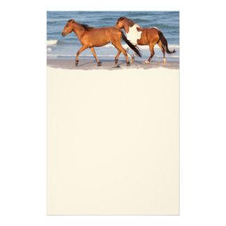 Caballo de la playa de la puesta del sol papelería