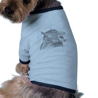 Caballo de la pluma y de la tinta camiseta con mangas para perro