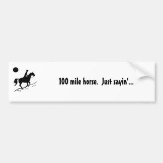 caballo de la resistencia de 100 millas etiqueta de parachoque