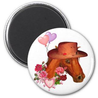 Caballo de la tarjeta del día de San Valentín Imán Redondo 5 Cm