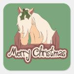 Caballo de las Felices Navidad Colcomanias Cuadradass