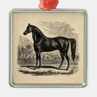 Caballo de los 1800s del vintage - plantilla del adorno navideño cuadrado de metal