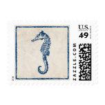 Caballo de mar azul del vintage sello