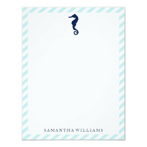 """Caballo de mar azul en rayas de la menta invitación 4.25"""" x 5.5"""""""