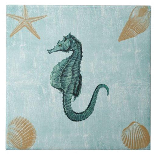 Caballo de mar de la playa azulejos ceramicos