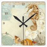 Caballo de mar de la tortuga del collage de la cos relojes
