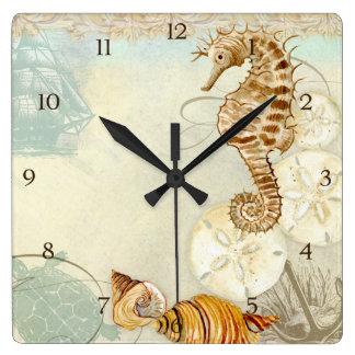 Caballo de mar de la tortuga del collage de la cos reloj cuadrado