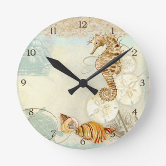 Caballo de mar de la tortuga del collage de la reloj redondo mediano