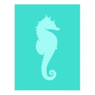 Caballo de mar de la turquesa 2 tarjeta postal