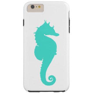 Caballo de mar de la turquesa en blanco funda de iPhone 6 plus tough