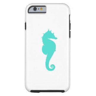 Caballo de mar de la turquesa en blanco funda de iPhone 6 tough