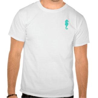 Caballo de mar de la turquesa en blanco camisetas