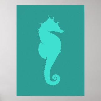 Caballo de mar de la turquesa impresiones