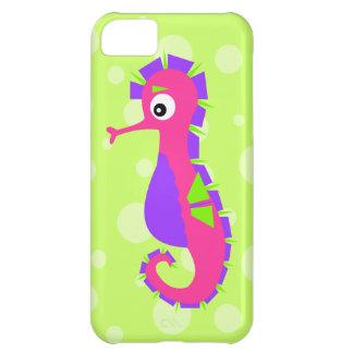 Caballo de mar lindo en púrpura del verde del rosa funda para iPhone 5C