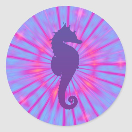 Caballo de mar mágico púrpura pegatina redonda