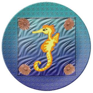 Caballo de mar platos de cerámica