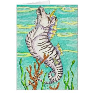 Caballo de mar rayado del unicornio de la cebra tarjeta