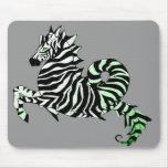 Caballo de mar verde de la cebra Mousepad Alfombrilla De Raton