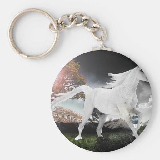 Caballo de montar a caballo blanco del semental llaveros personalizados