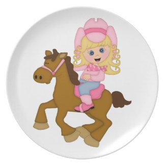 Caballo de montar a caballo de la vaquera (rosa) plato para fiesta