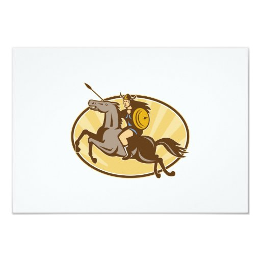"""Caballo de montar a caballo de Valkyrie retro Invitación 3.5"""" X 5"""""""