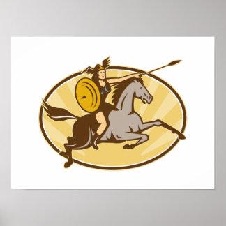 Caballo de montar a caballo de Valkyrie retro Posters