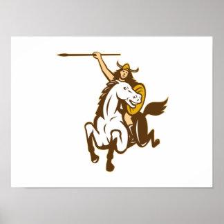 Caballo de montar a caballo de Valkyrie retro Poster