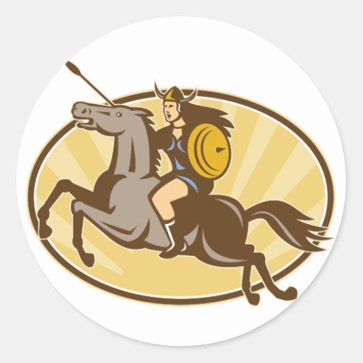 Caballo de montar a caballo de Valkyrie retro Pegatina Redonda