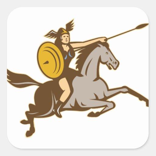 Caballo de montar a caballo de Valkyrie retro Colcomanias Cuadradas