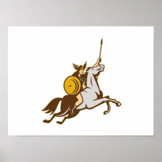 Caballo de montar a caballo de Valkyrie retro Póster