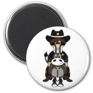 Caballo de montar a caballo del vaquero imán redondo 5 cm