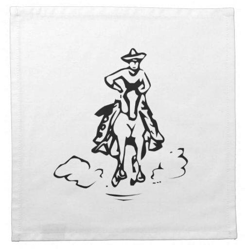 Caballo de montar a caballo del vaquero servilletas imprimidas
