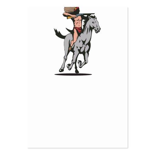 Caballo de montar a caballo indio del nativo ameri tarjeta personal