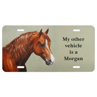 Caballo de Morgan de la castaña Placa De Matrícula