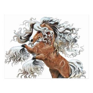 caballo de oro de la fantasía tarjeta postal